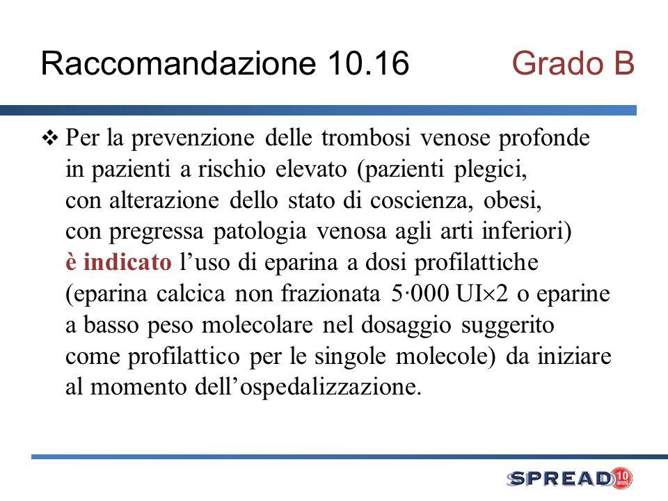 Raccomandazione 10.16 Grado B