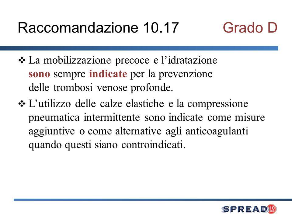 Raccomandazione 10.17 Grado D