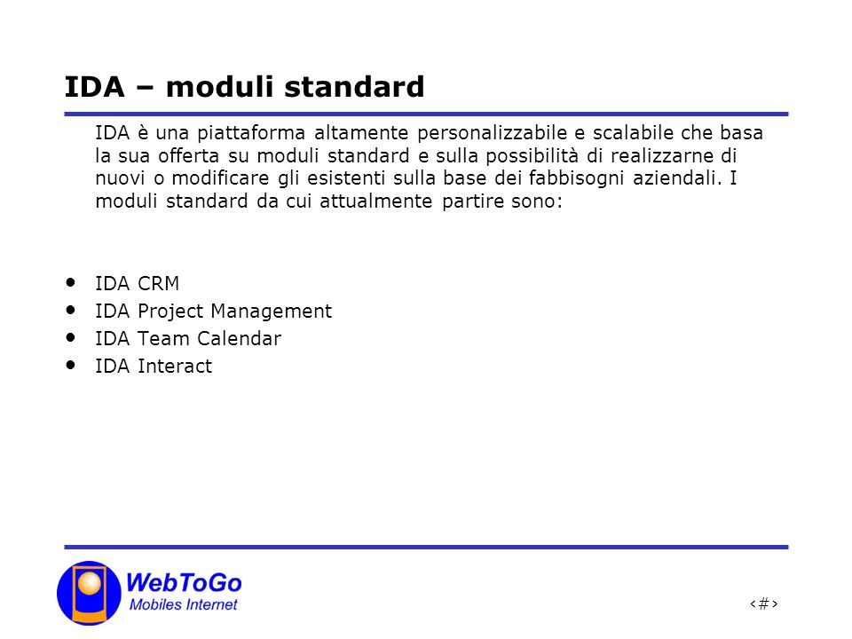 IDA – moduli standard