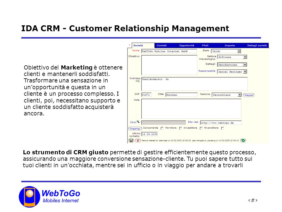 IDA CRM - Customer Relationship Management