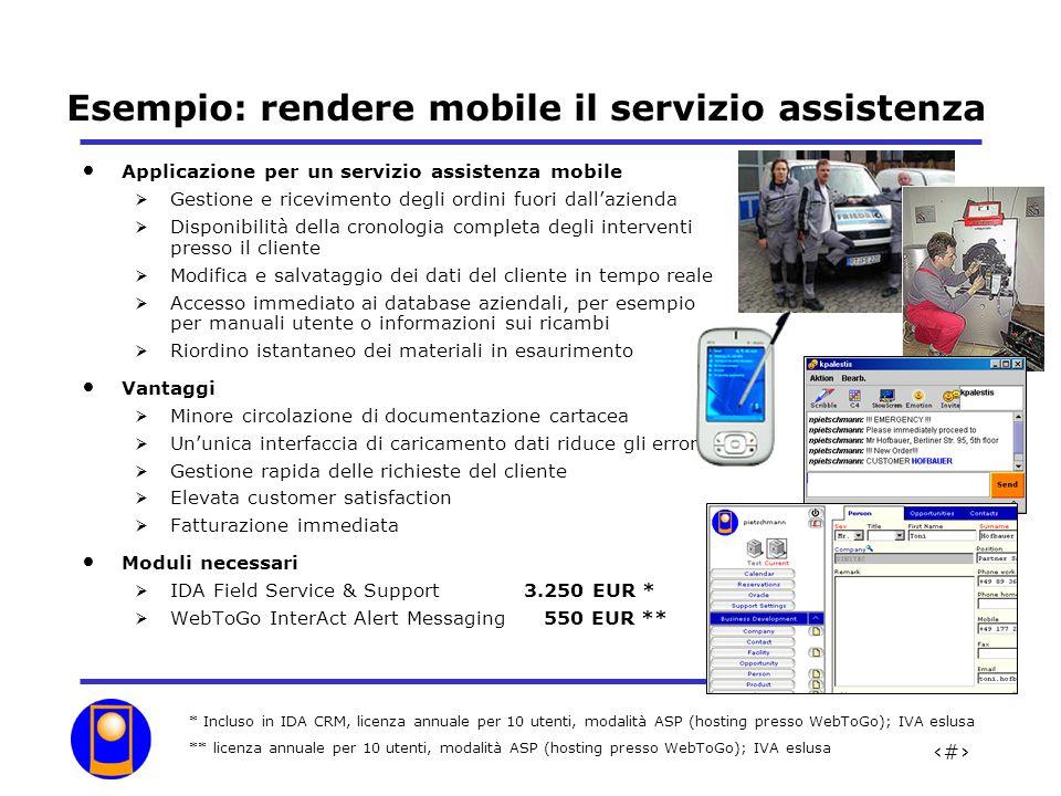 Esempio: rendere mobile il servizio assistenza