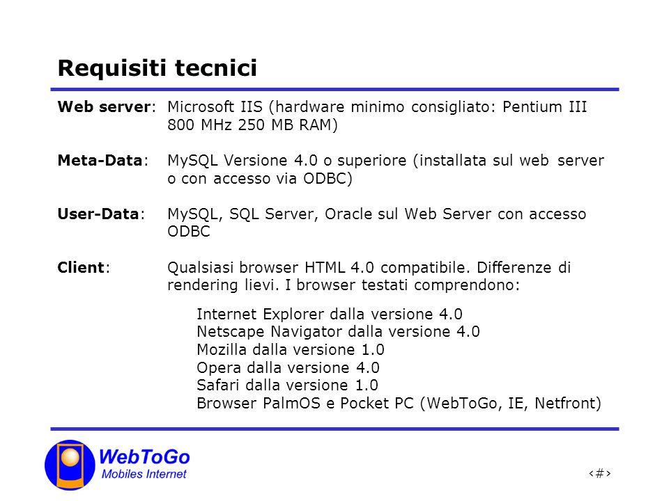 Requisiti tecnici Web server: Microsoft IIS (hardware minimo consigliato: Pentium III 800 MHz 250 MB RAM)
