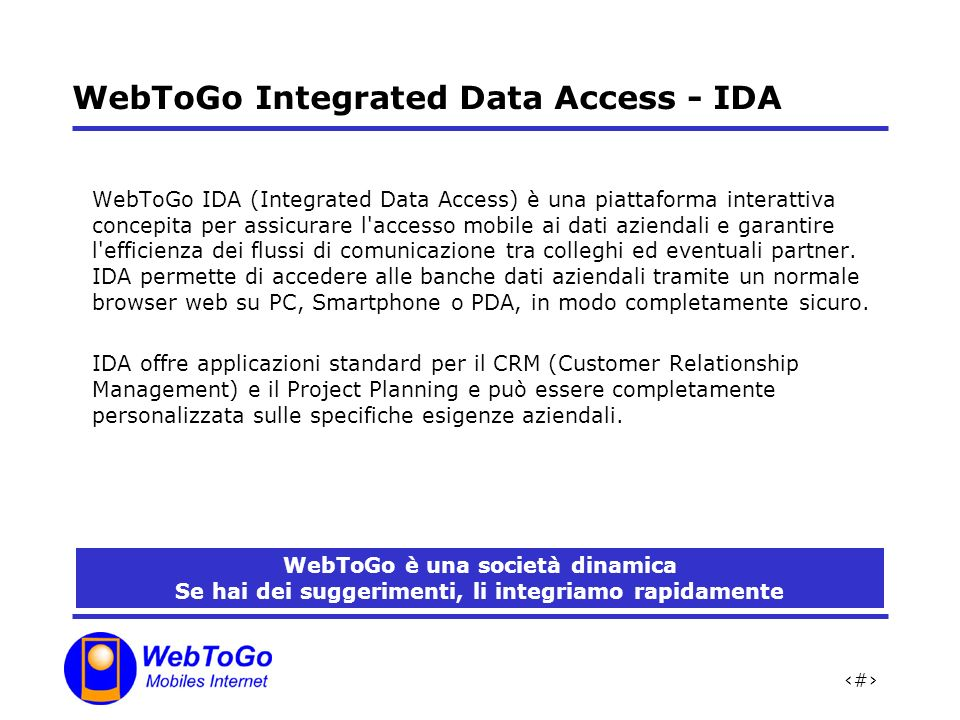 WebToGo Integrated Data Access - IDA