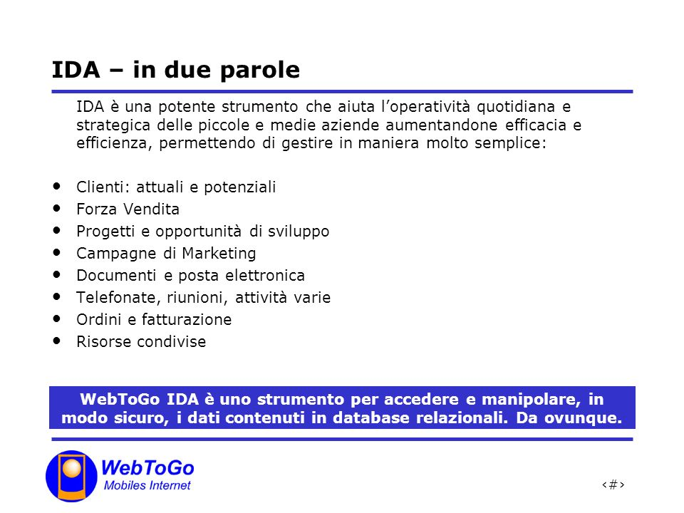 IDA – in due parole