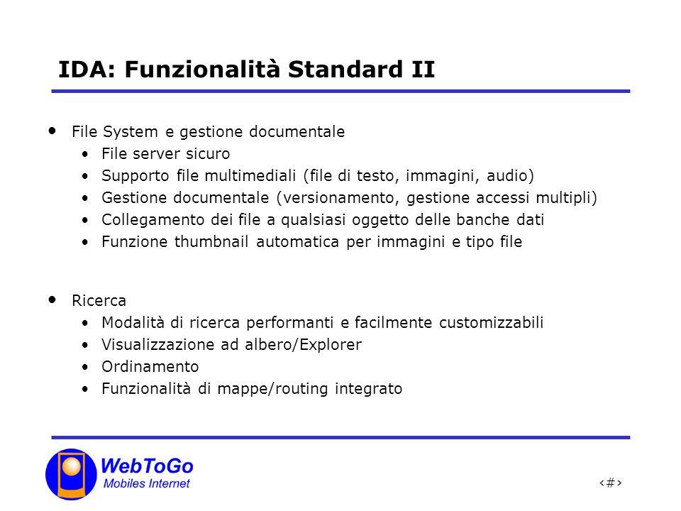 IDA: Funzionalità Standard II