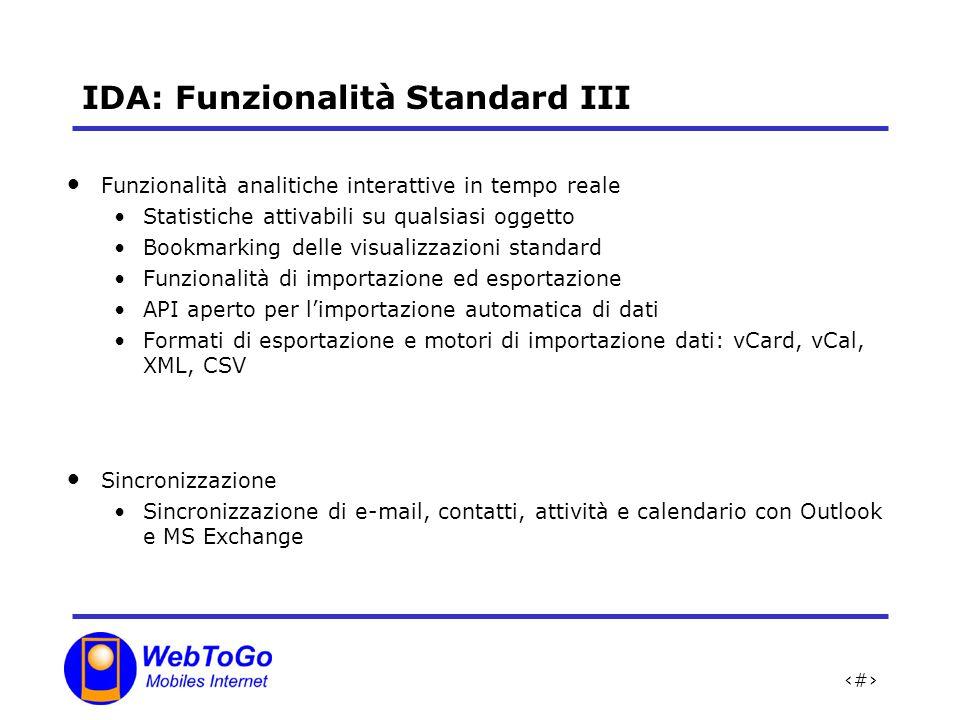 IDA: Funzionalità Standard III