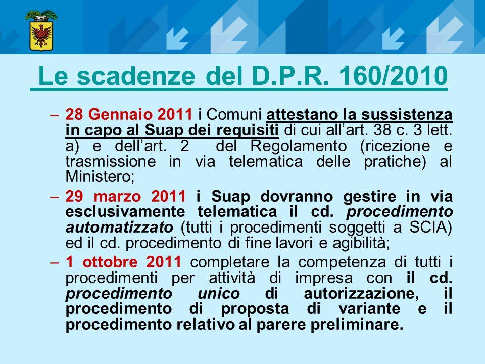 Le scadenze del D.P.R. 160/2010