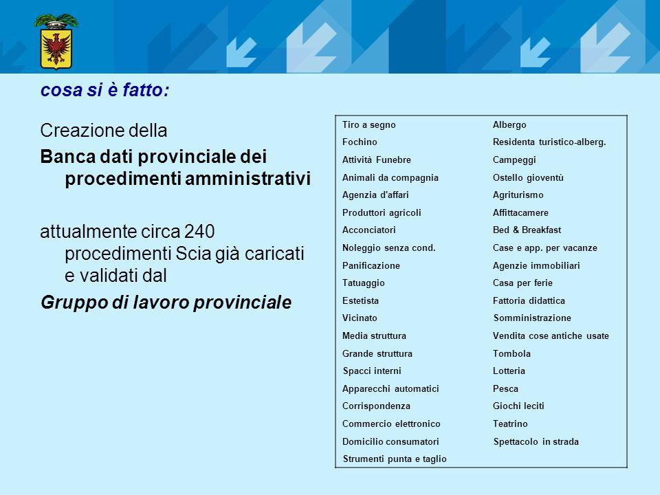 Banca dati provinciale dei procedimenti amministrativi