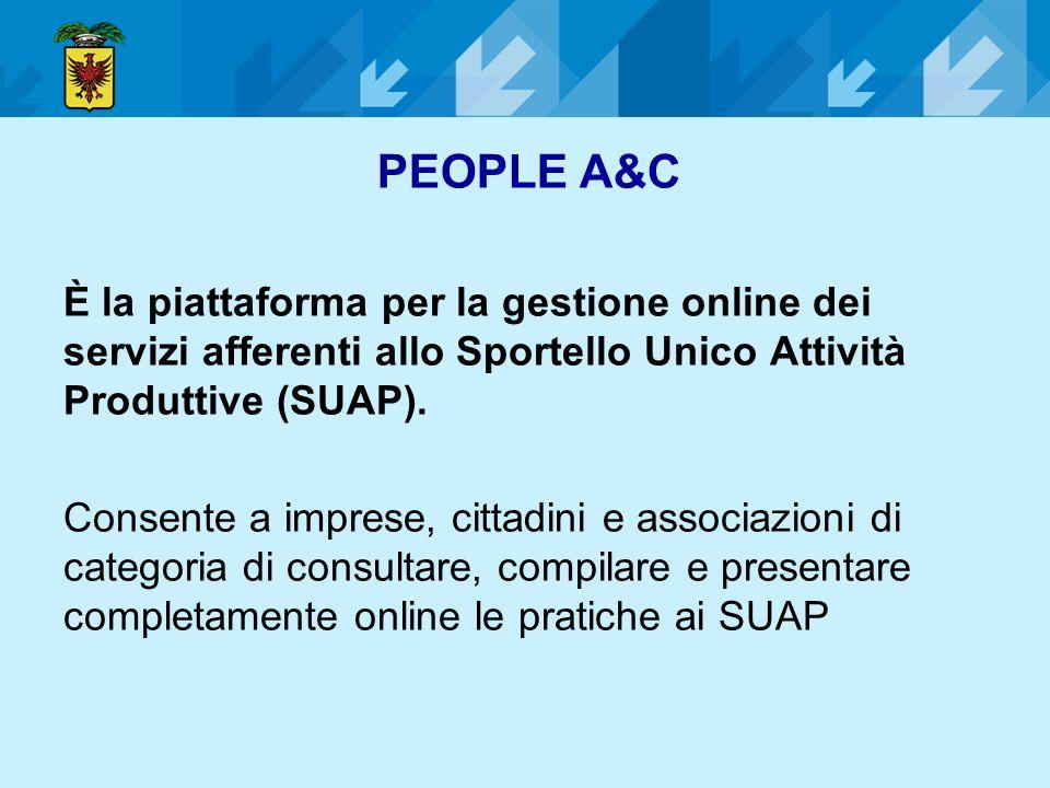 PEOPLE A&C È la piattaforma per la gestione online dei servizi afferenti allo Sportello Unico Attività Produttive (SUAP).