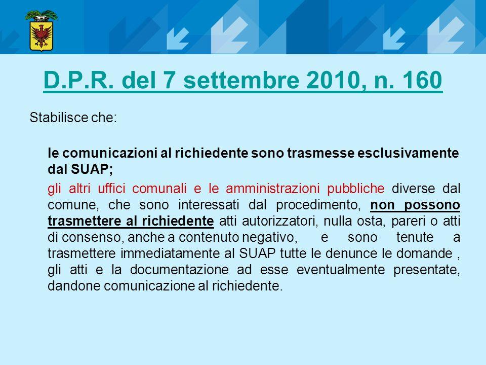 D.P.R. del 7 settembre 2010, n. 160 Stabilisce che: