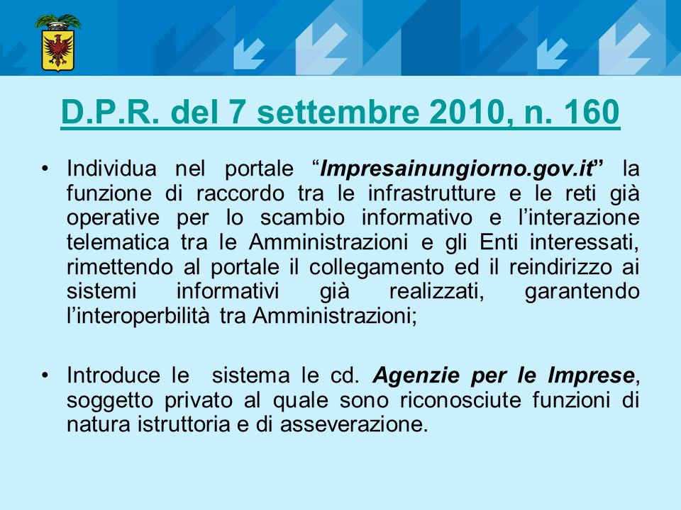 D.P.R. del 7 settembre 2010, n. 160