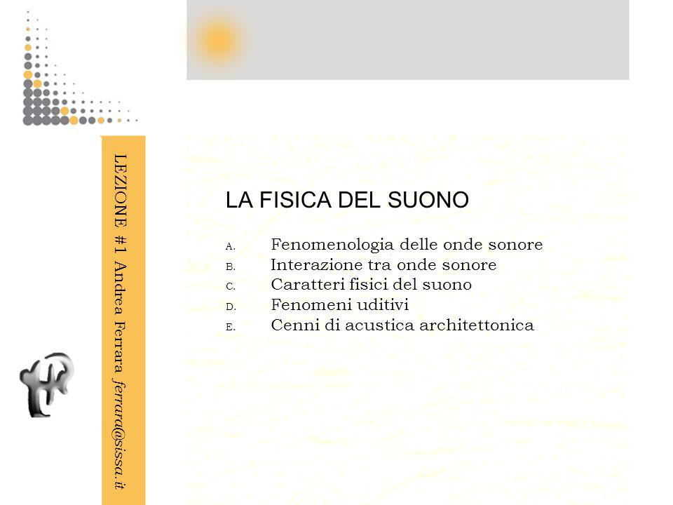 LA FISICA DEL SUONO LEZIONE #1 Andrea Ferrara ferrara@sissa.it