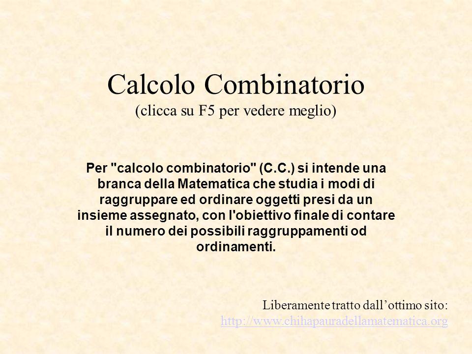 Calcolo Combinatorio (clicca su F5 per vedere meglio)