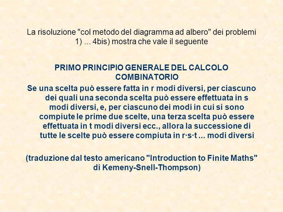 PRIMO PRINCIPIO GENERALE DEL CALCOLO COMBINATORIO