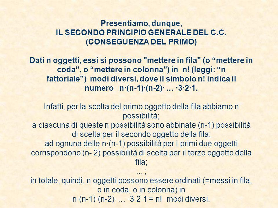 Presentiamo, dunque, IL SECONDO PRINCIPIO GENERALE DEL C. C