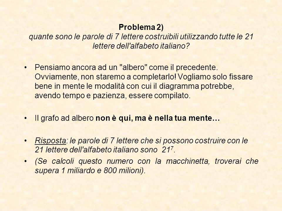 Problema 2) quante sono le parole di 7 lettere costruibili utilizzando tutte le 21 lettere dell alfabeto italiano