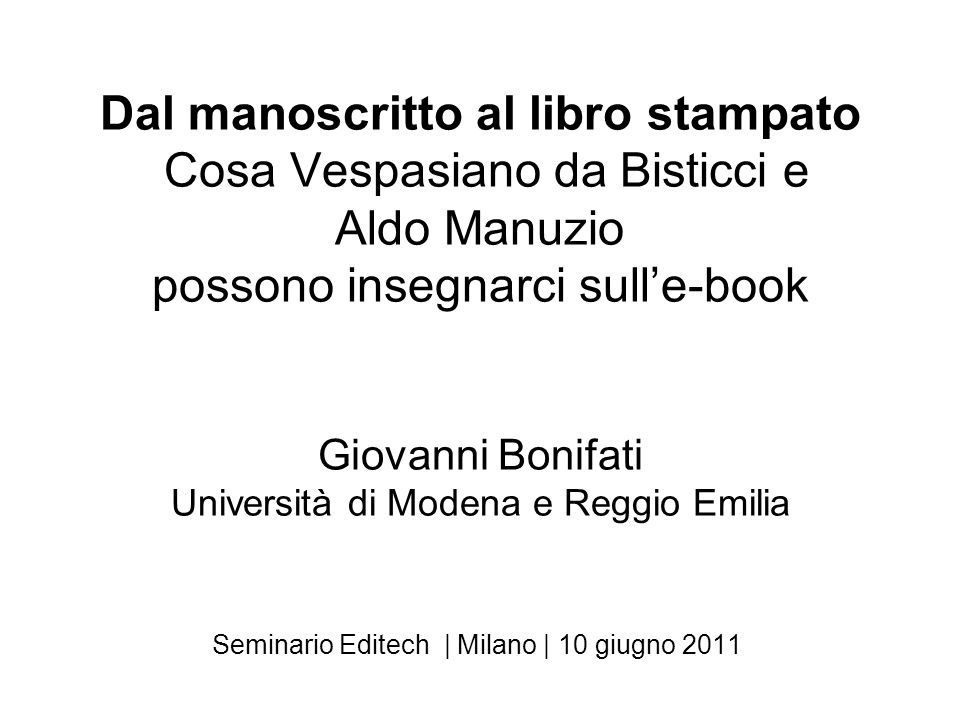 Seminario Editech | Milano | 10 giugno 2011