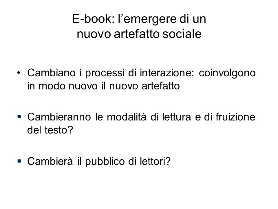 E-book: l'emergere di un nuovo artefatto sociale