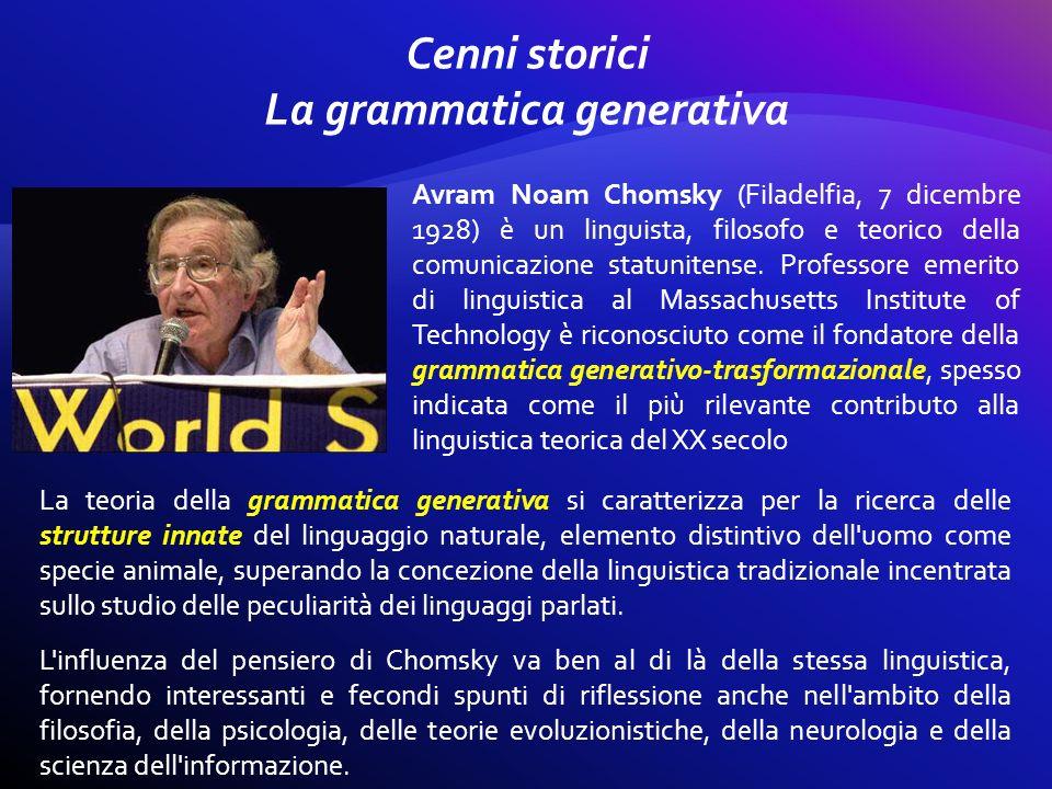 Cenni storici La grammatica generativa
