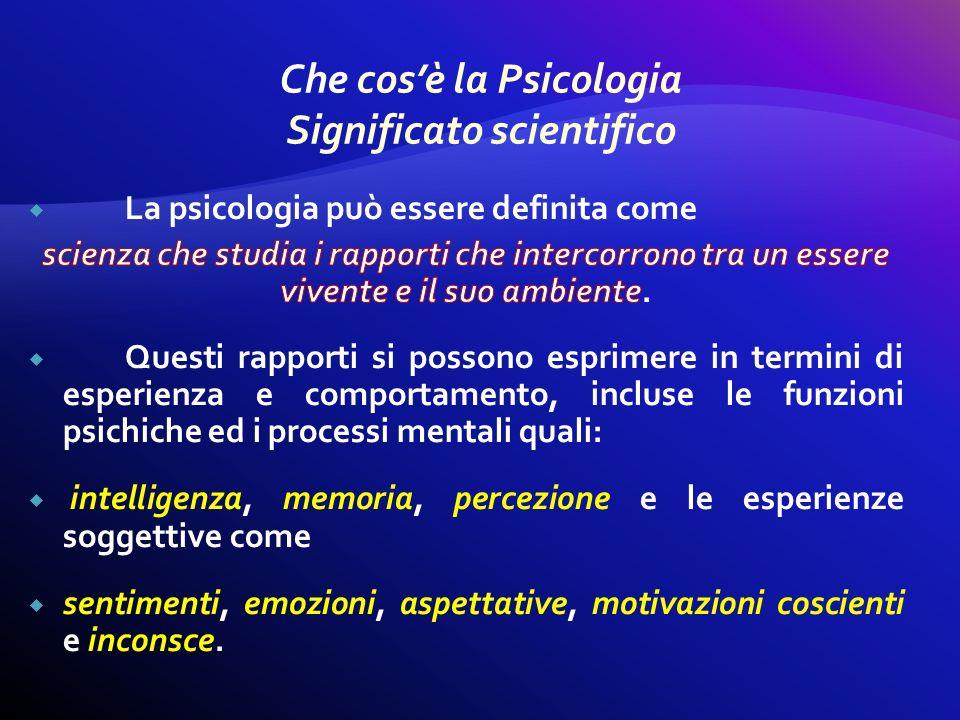Che cos'è la Psicologia Significato scientifico