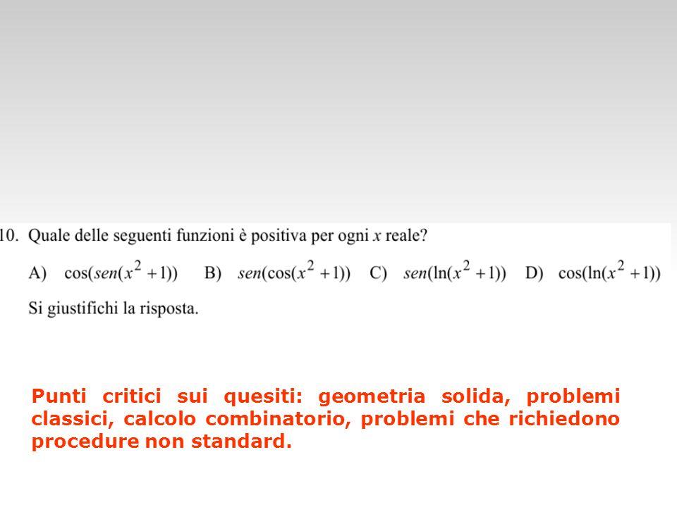 Punti critici sui quesiti: geometria solida, problemi classici, calcolo combinatorio, problemi che richiedono procedure non standard.