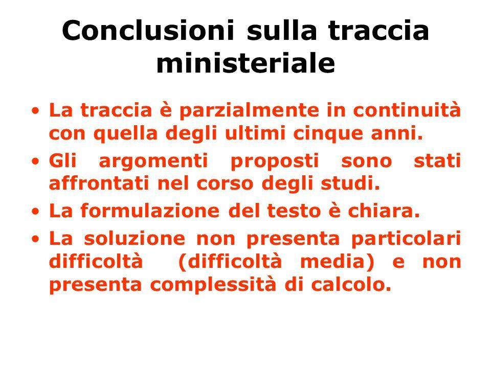 Conclusioni sulla traccia ministeriale