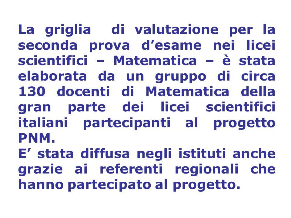 La griglia di valutazione per la seconda prova d'esame nei licei scientifici – Matematica – è stata elaborata da un gruppo di circa 130 docenti di Matematica della gran parte dei licei scientifici italiani partecipanti al progetto PNM.