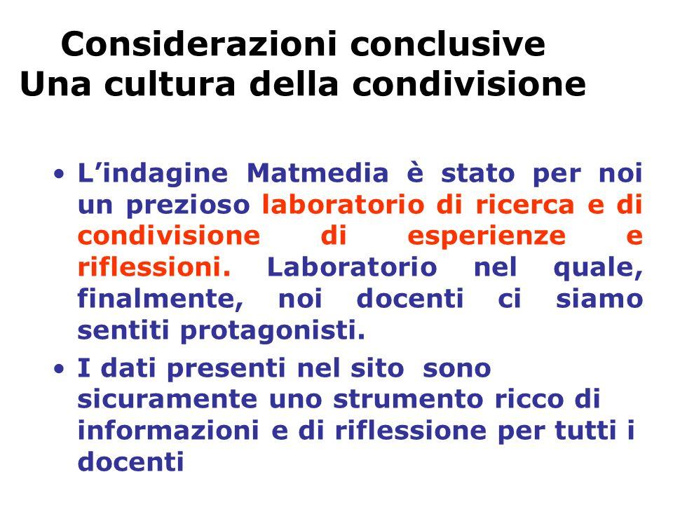 Considerazioni conclusive Una cultura della condivisione