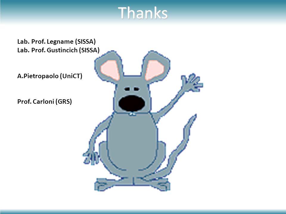 Thanks Lab. Prof. Legname (SISSA) Lab. Prof. Gustincich (SISSA)