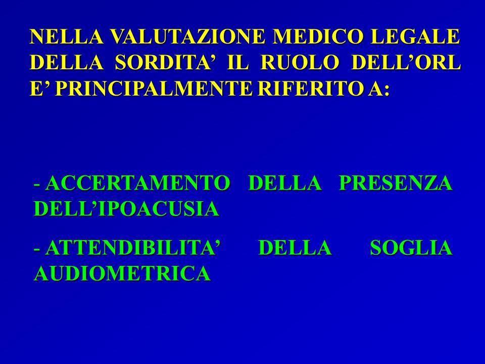 NELLA VALUTAZIONE MEDICO LEGALE DELLA SORDITA' IL RUOLO DELL'ORL E' PRINCIPALMENTE RIFERITO A: