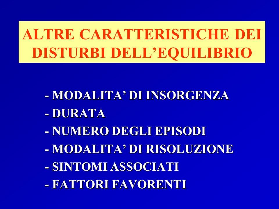 ALTRE CARATTERISTICHE DEI DISTURBI DELL'EQUILIBRIO
