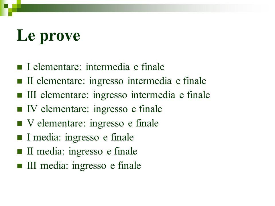 Le prove I elementare: intermedia e finale