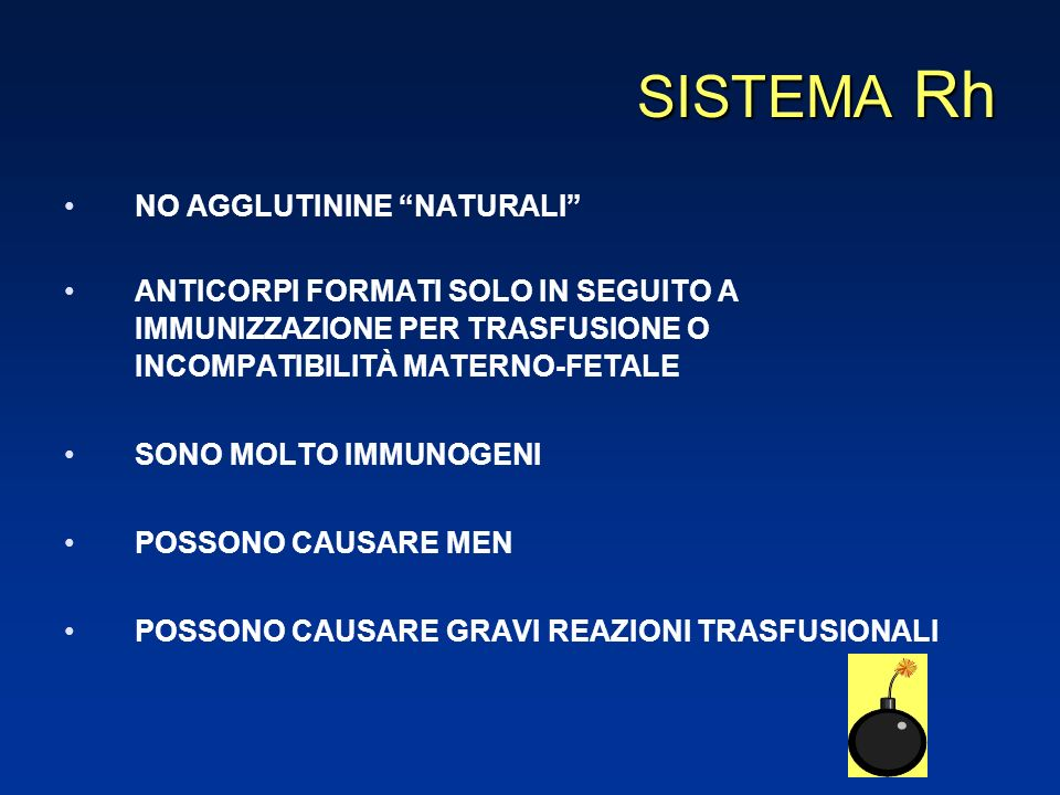 SISTEMA Rh NO AGGLUTININE NATURALI