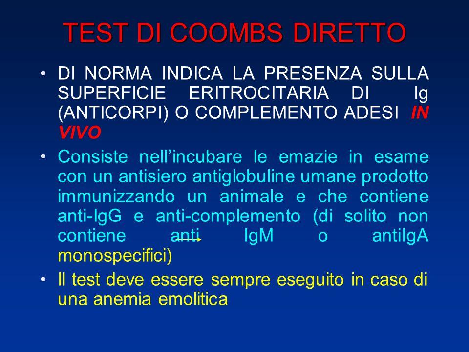 TEST DI COOMBS DIRETTO DI NORMA INDICA LA PRESENZA SULLA SUPERFICIE ERITROCITARIA DI Ig (ANTICORPI) O COMPLEMENTO ADESI IN VIVO.
