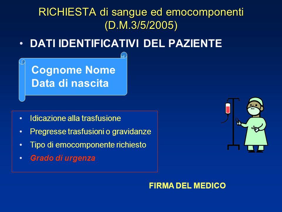 RICHIESTA di sangue ed emocomponenti (D.M.3/5/2005)