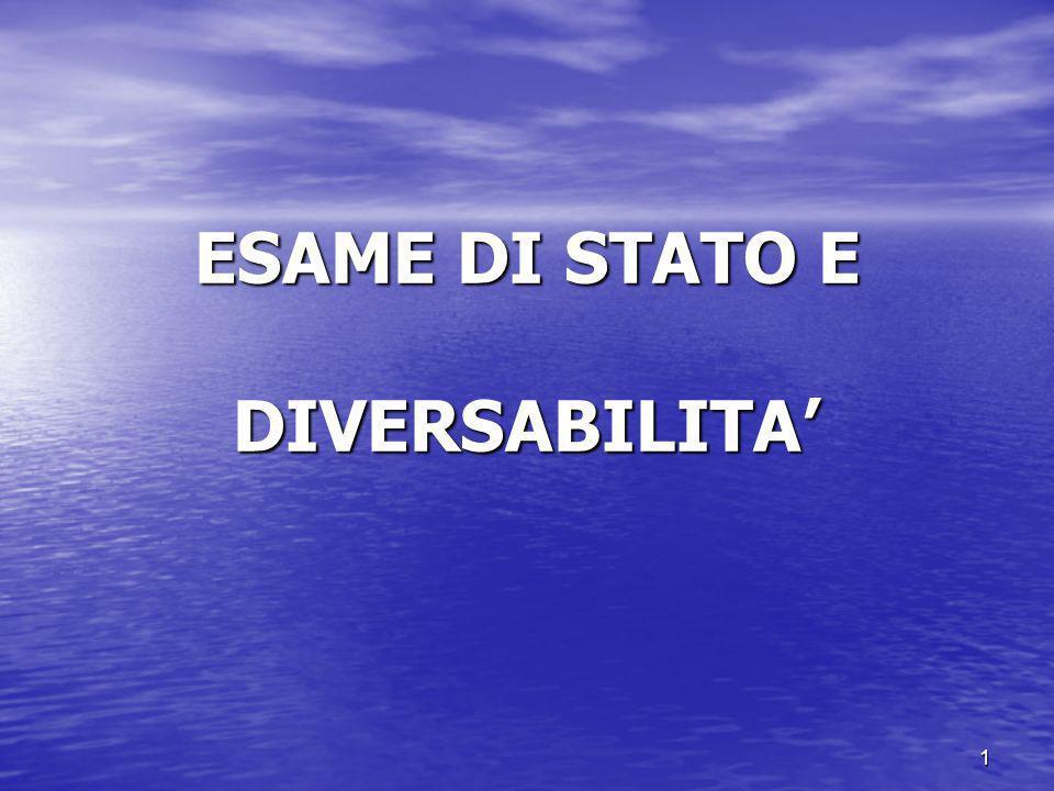 ESAME DI STATO E DIVERSABILITA'
