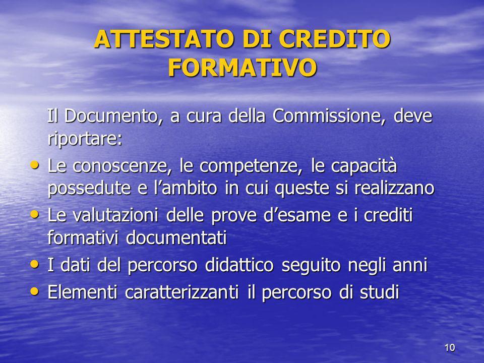 ATTESTATO DI CREDITO FORMATIVO