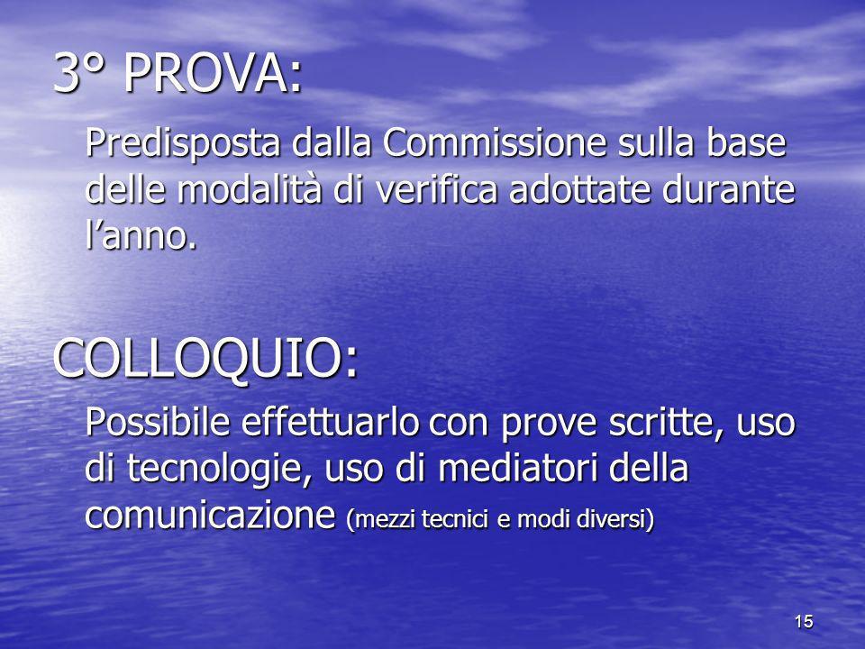 3° PROVA: Predisposta dalla Commissione sulla base delle modalità di verifica adottate durante l'anno.