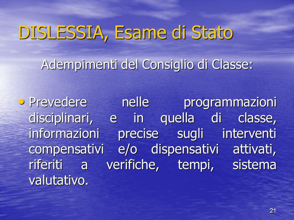 DISLESSIA, Esame di Stato
