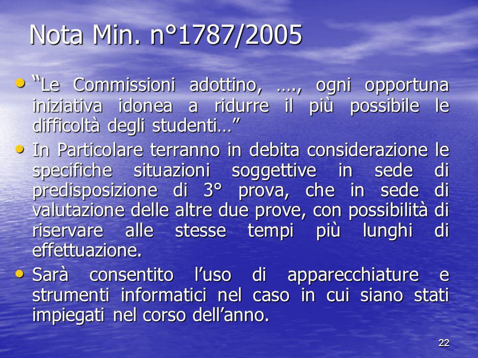 Nota Min. n°1787/2005 Le Commissioni adottino, …., ogni opportuna iniziativa idonea a ridurre il più possibile le difficoltà degli studenti…