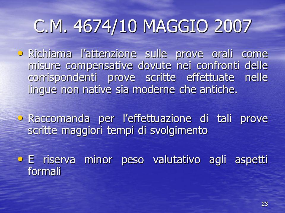 C.M. 4674/10 MAGGIO 2007