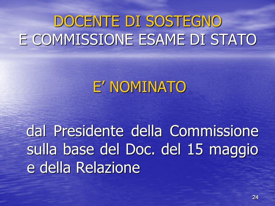 DOCENTE DI SOSTEGNO E COMMISSIONE ESAME DI STATO