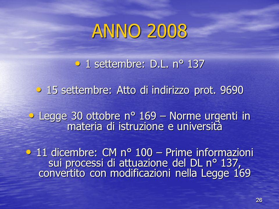 15 settembre: Atto di indirizzo prot. 9690
