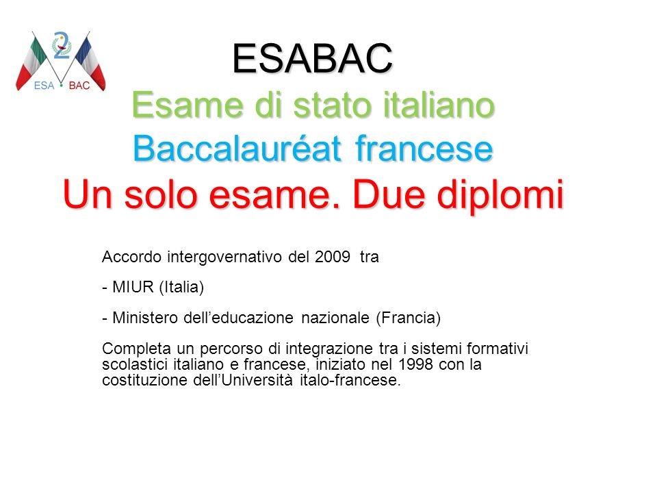 ESABAC Esame di stato italiano Baccalauréat francese Un solo esame