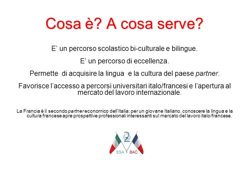Cosa è A cosa serve E' un percorso scolastico bi-culturale e bilingue. E' un percorso di eccellenza.