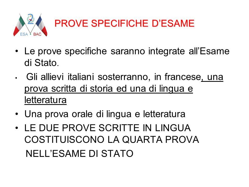 PROVE SPECIFICHE D'ESAME