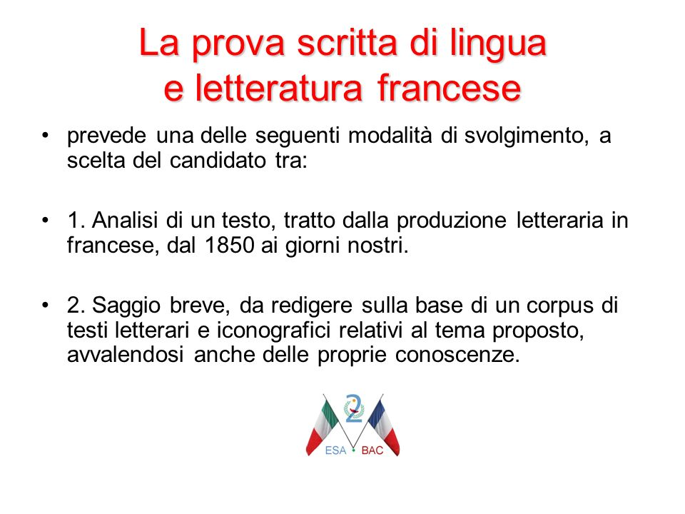 La prova scritta di lingua e letteratura francese