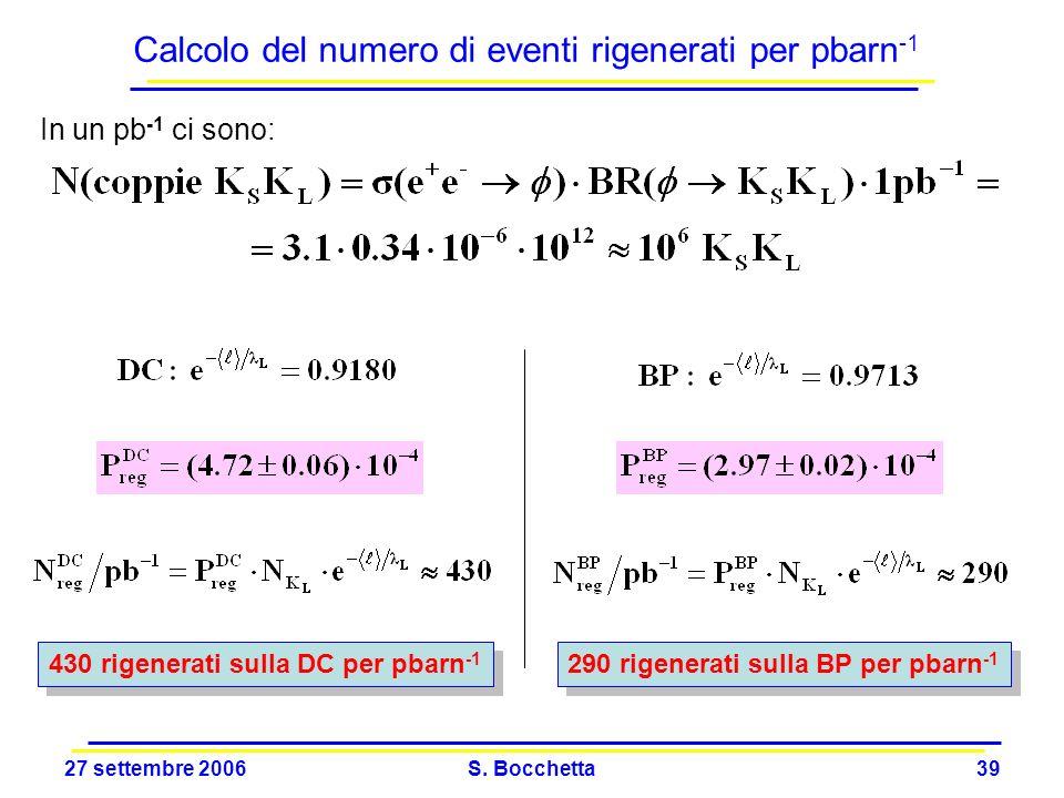 Calcolo del numero di eventi rigenerati per pbarn-1