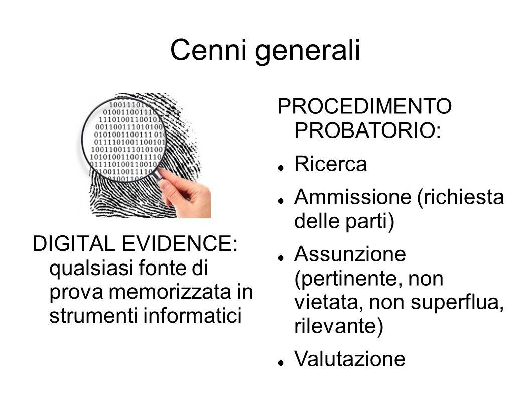 Cenni generali PROCEDIMENTO PROBATORIO: Ricerca
