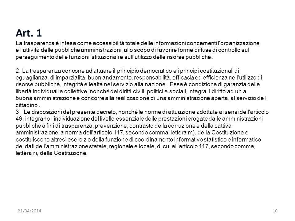Art. 1 La trasparenza è intesa come accessibilità totale delle informazioni concernenti l organizzazione.